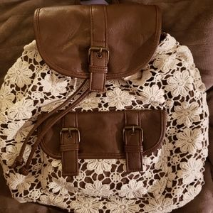 Claire's Brown Faux Leather Laced Backpack Purse